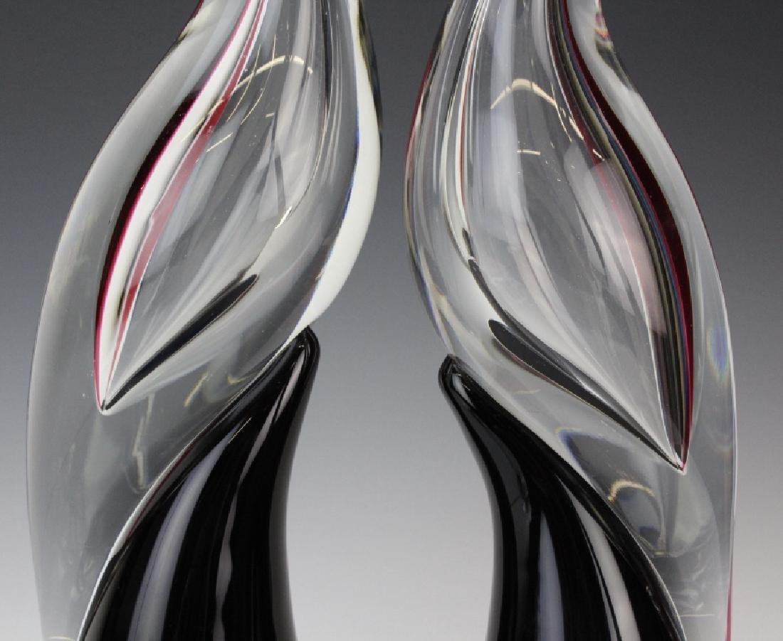 PAIR Cenedese Murano Art Glass Heron Bird Sculptures - 3