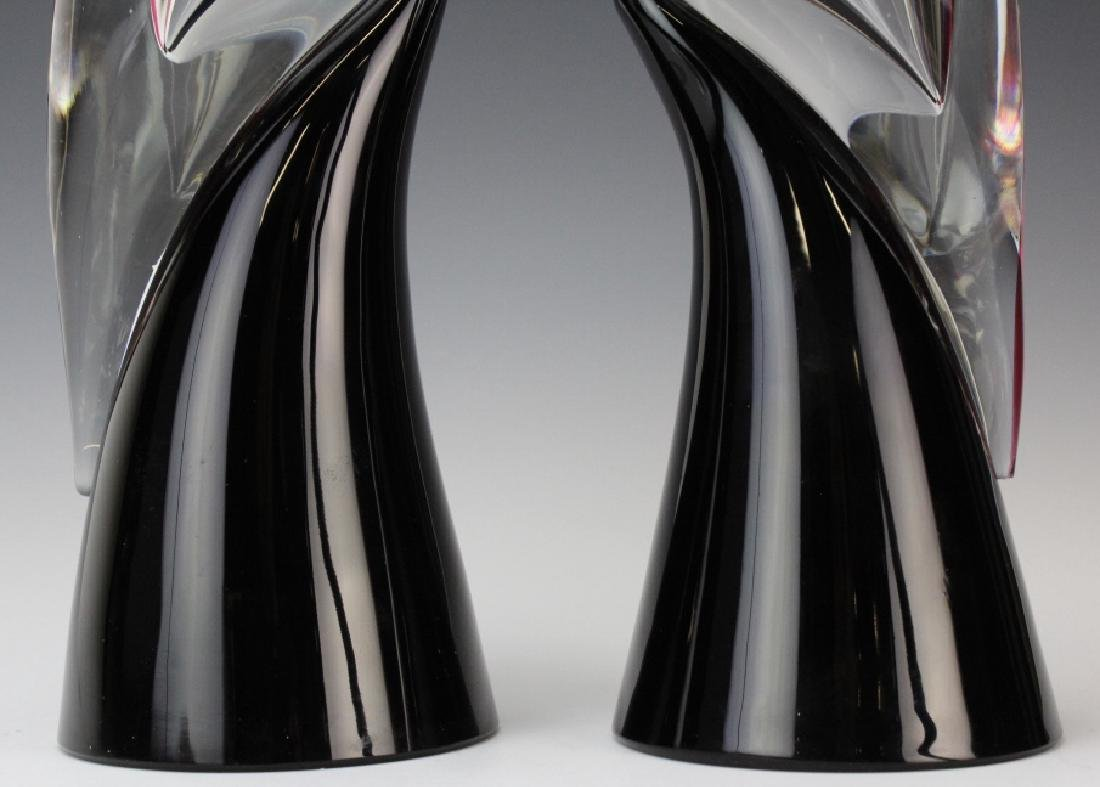 PAIR Cenedese Murano Art Glass Heron Bird Sculptures - 4