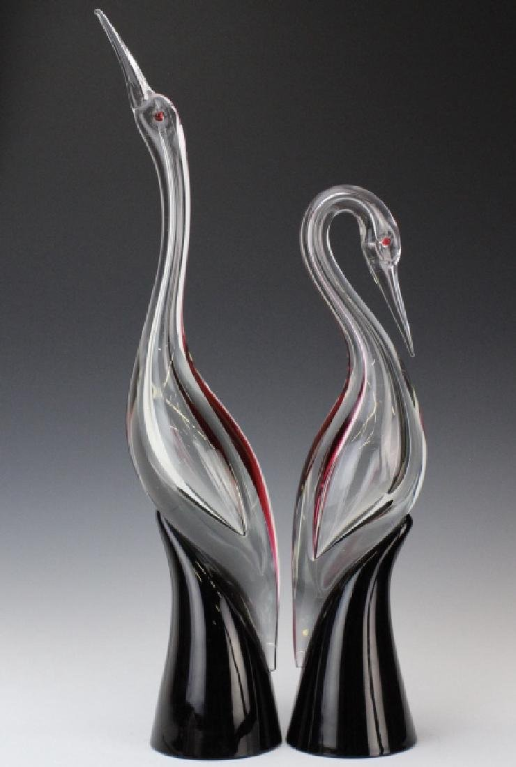 PAIR Cenedese Murano Art Glass Heron Bird Sculptures - 5