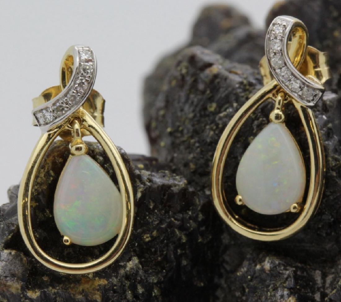 PAIR of 14k Yellow Gold Opal & Diamond Drop Earrings