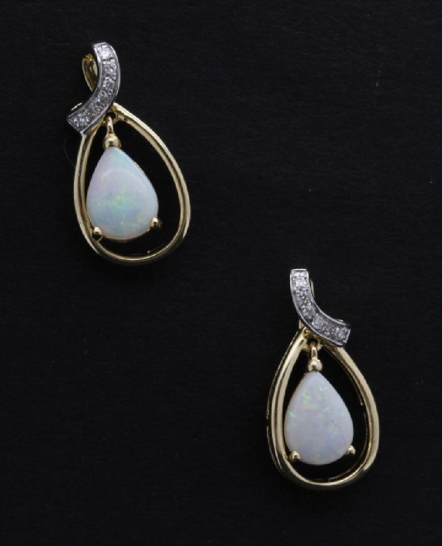 PAIR of 14k Yellow Gold Opal & Diamond Drop Earrings - 2