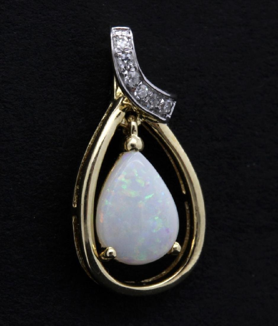 PAIR of 14k Yellow Gold Opal & Diamond Drop Earrings - 3