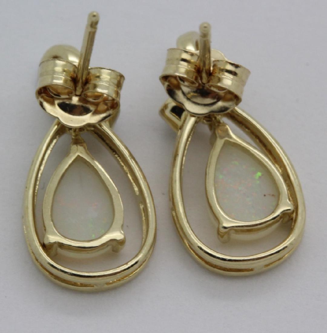 PAIR of 14k Yellow Gold Opal & Diamond Drop Earrings - 5