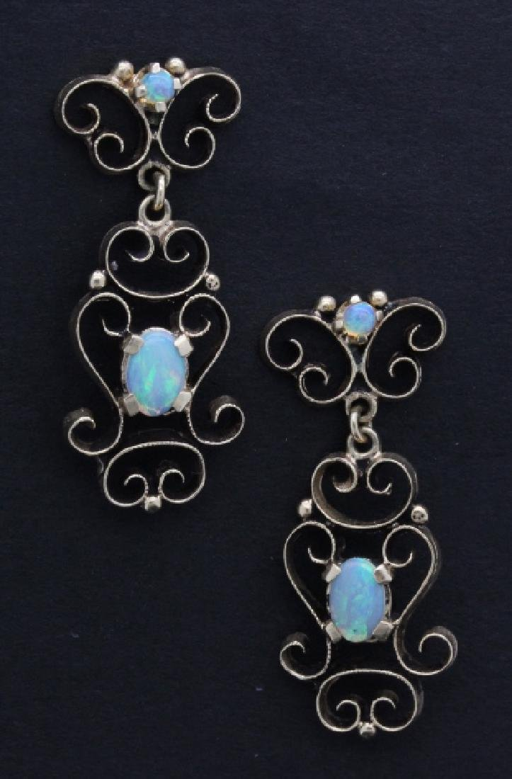 PAIR Victorian 14k Gold & Opal Filigree Drop Earrings