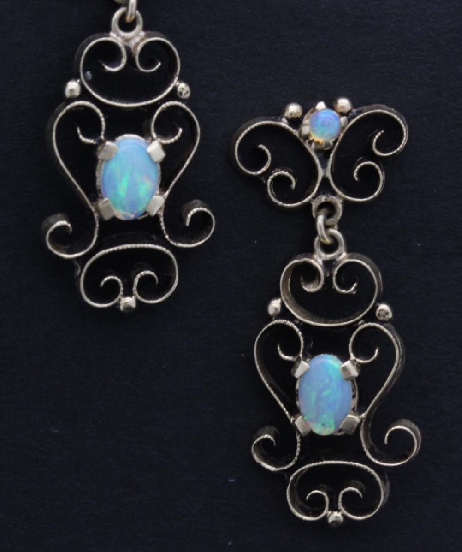 PAIR Victorian 14k Gold & Opal Filigree Drop Earrings - 2