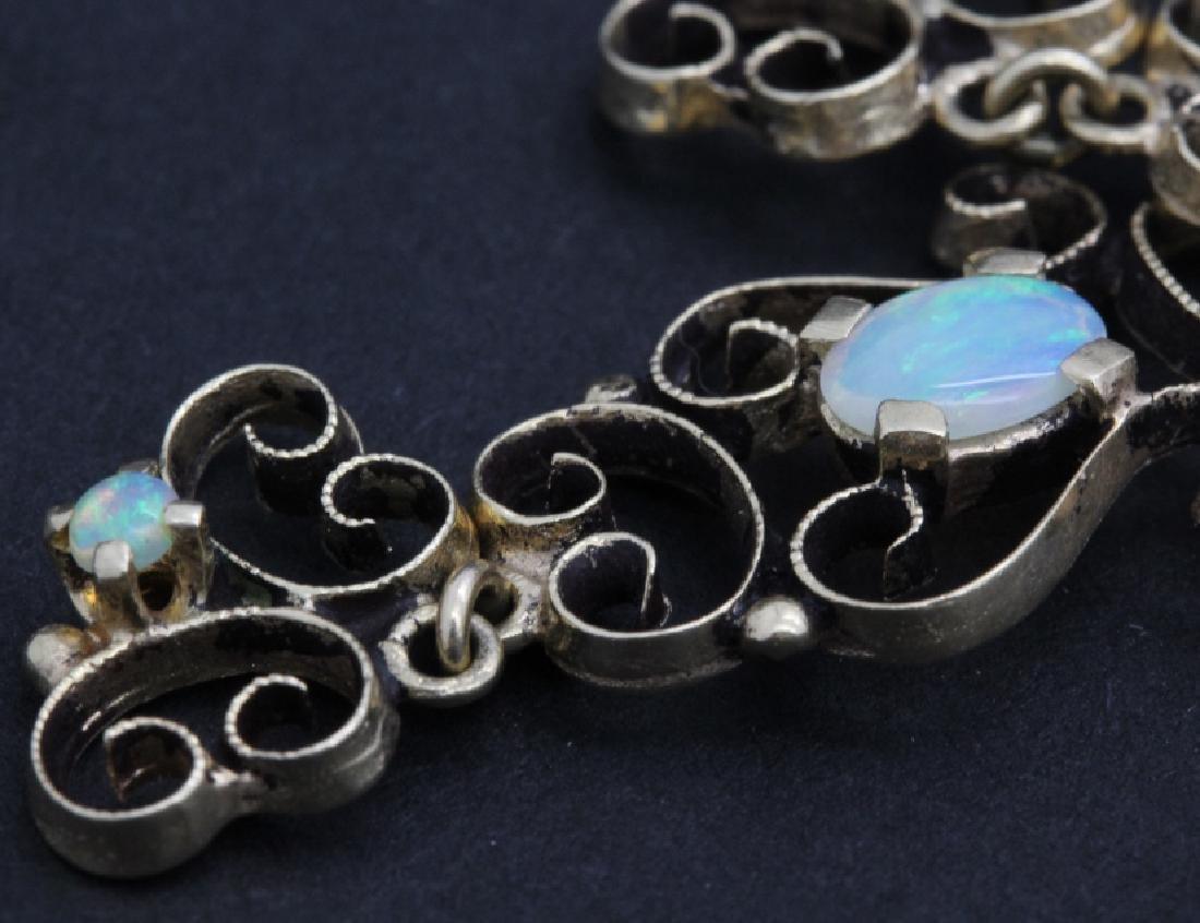 PAIR Victorian 14k Gold & Opal Filigree Drop Earrings - 3