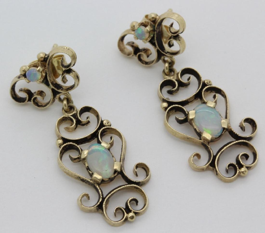 PAIR Victorian 14k Gold & Opal Filigree Drop Earrings - 4
