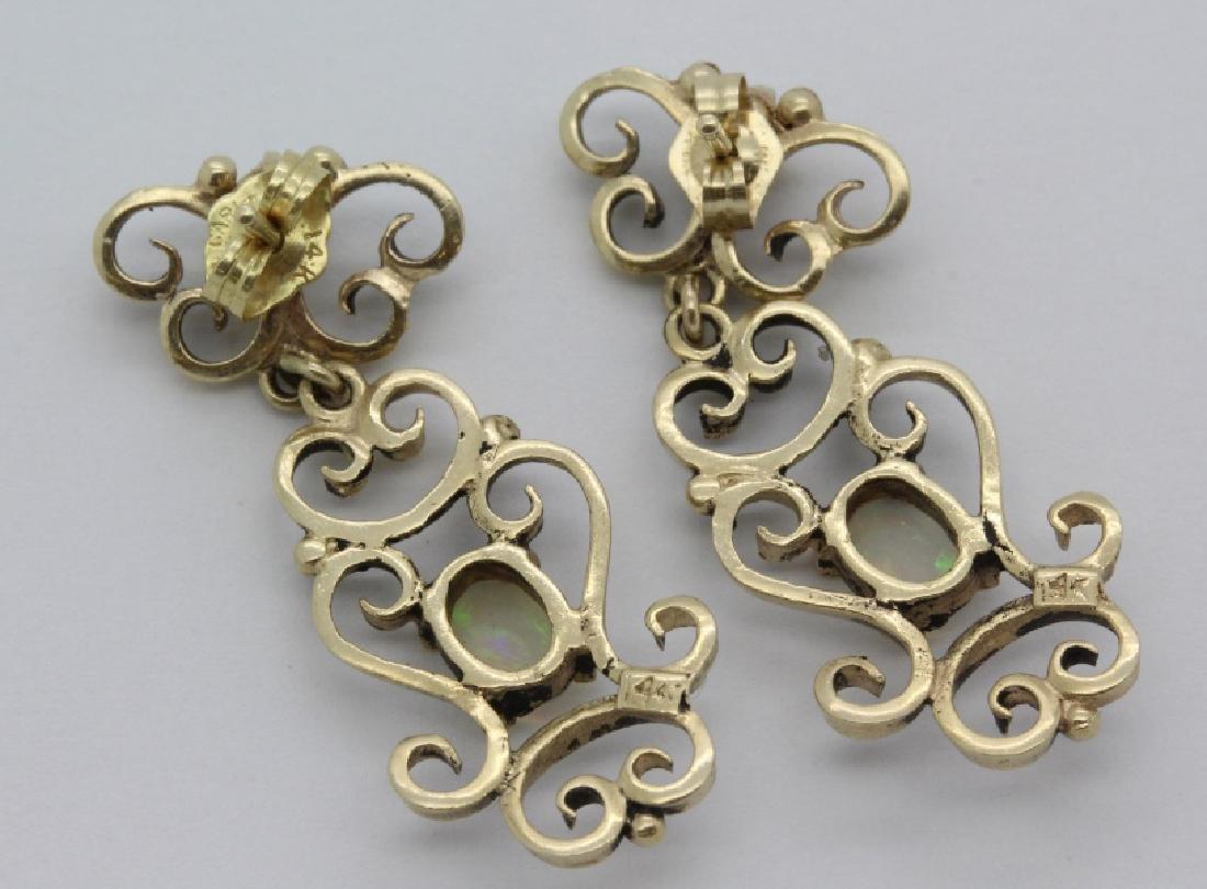 PAIR Victorian 14k Gold & Opal Filigree Drop Earrings - 5