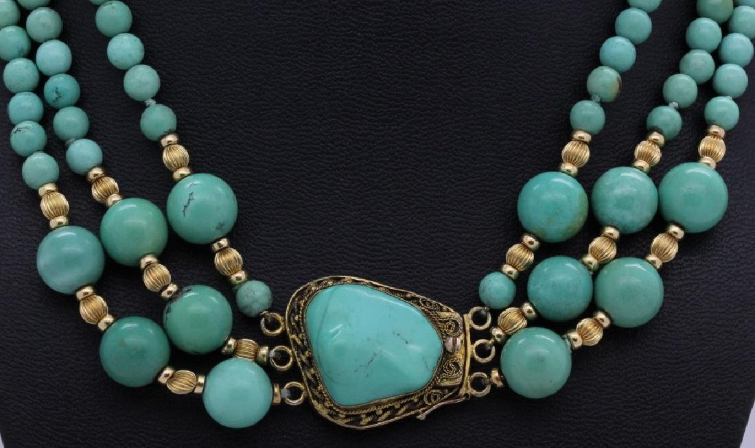 Chinese Silver w Triple Strand Blue Turquoise Necklace