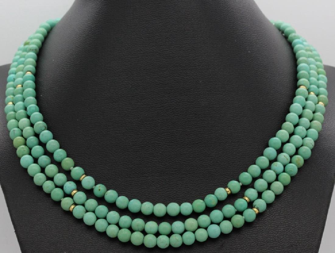 Chinese Silver w Triple Strand Blue Turquoise Necklace - 2