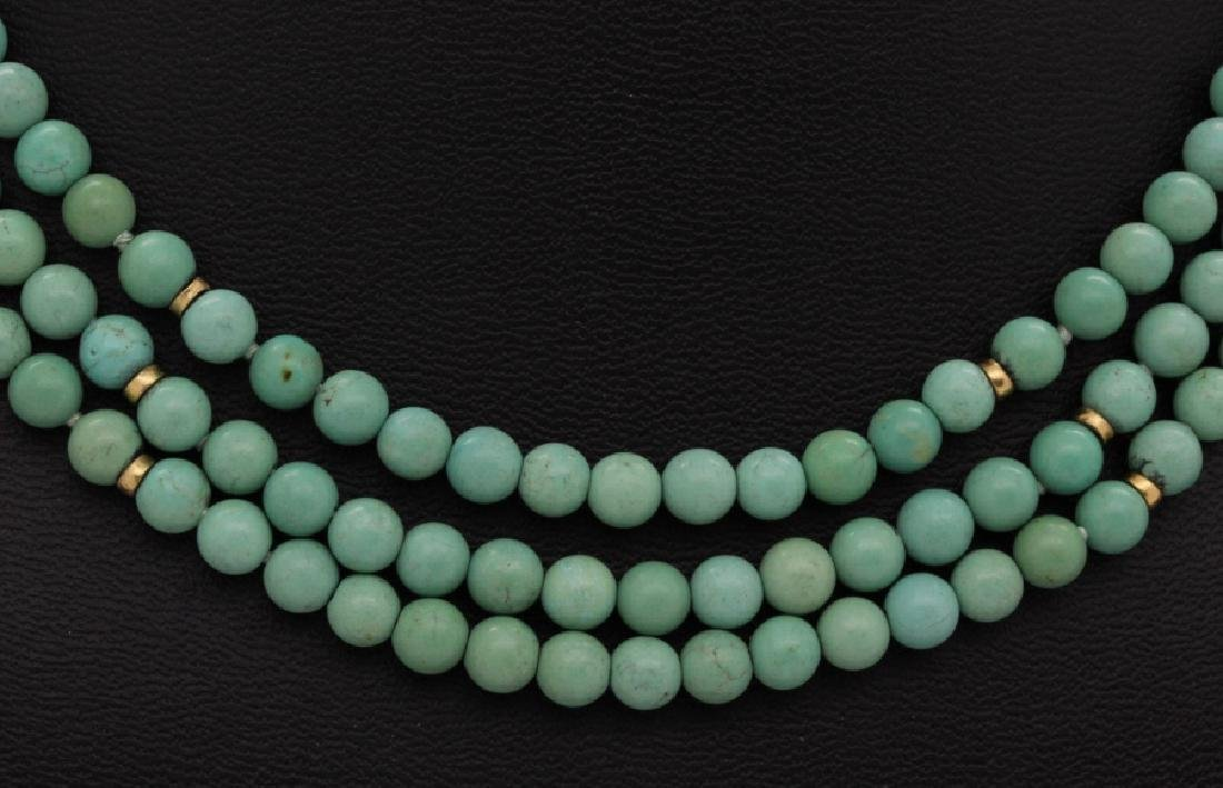 Chinese Silver w Triple Strand Blue Turquoise Necklace - 3