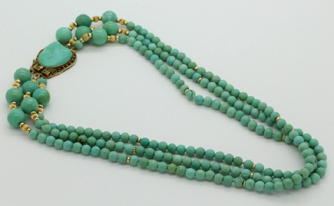 Chinese Silver w Triple Strand Blue Turquoise Necklace - 4