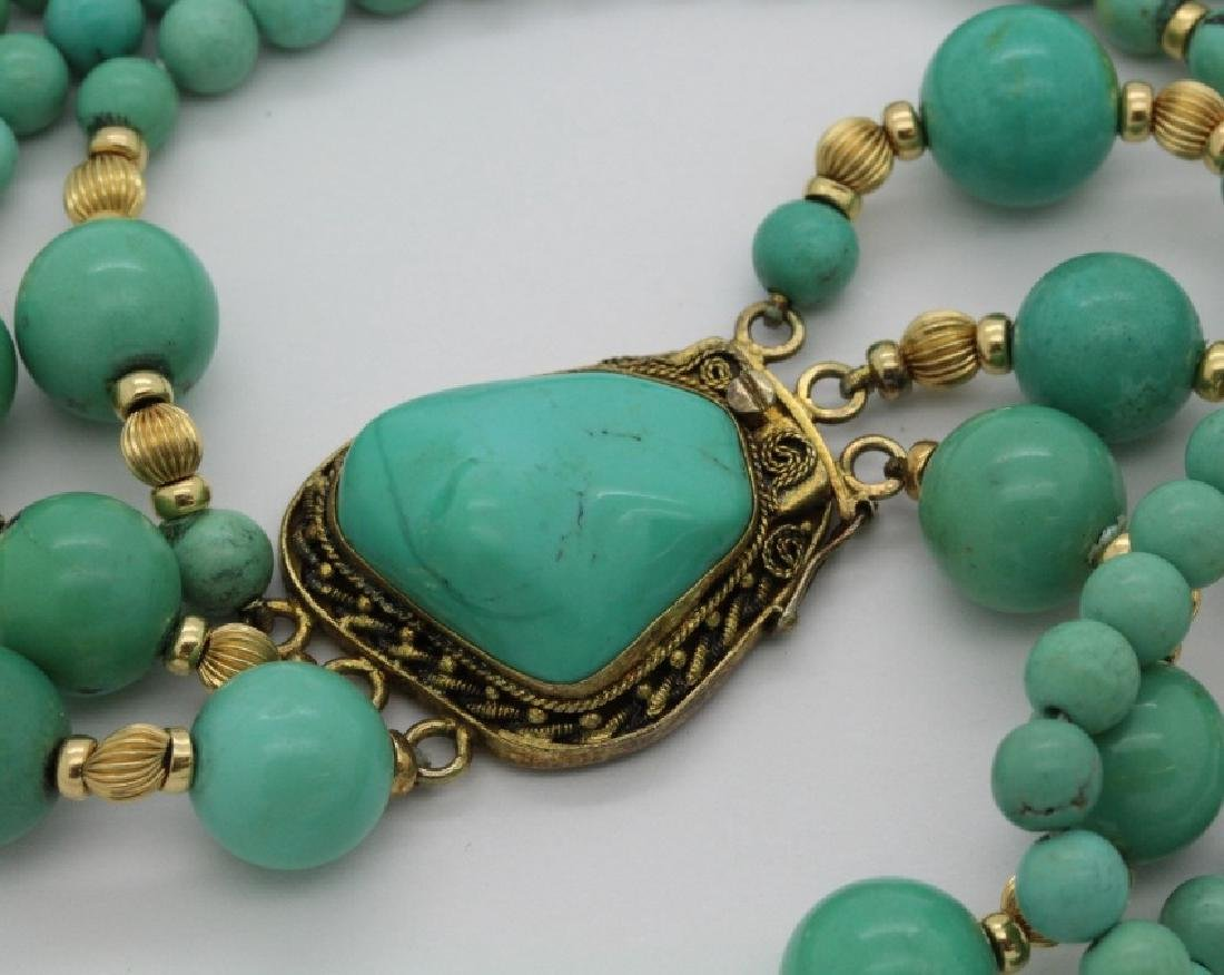 Chinese Silver w Triple Strand Blue Turquoise Necklace - 5