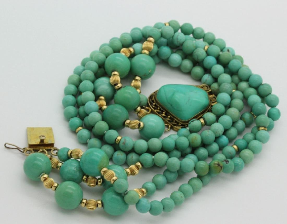 Chinese Silver w Triple Strand Blue Turquoise Necklace - 8