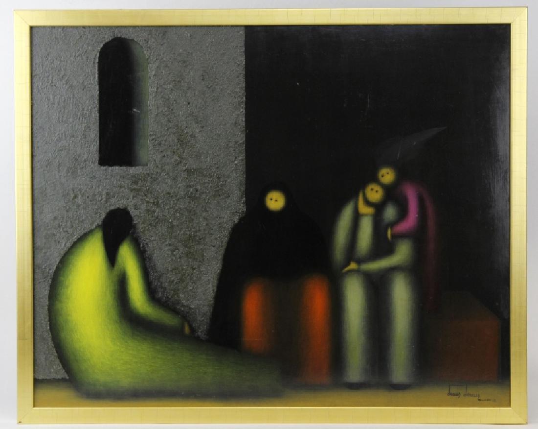 SIGNED Jesus Leuus (1948-) Minimalist Oil Painting 1968 - 2