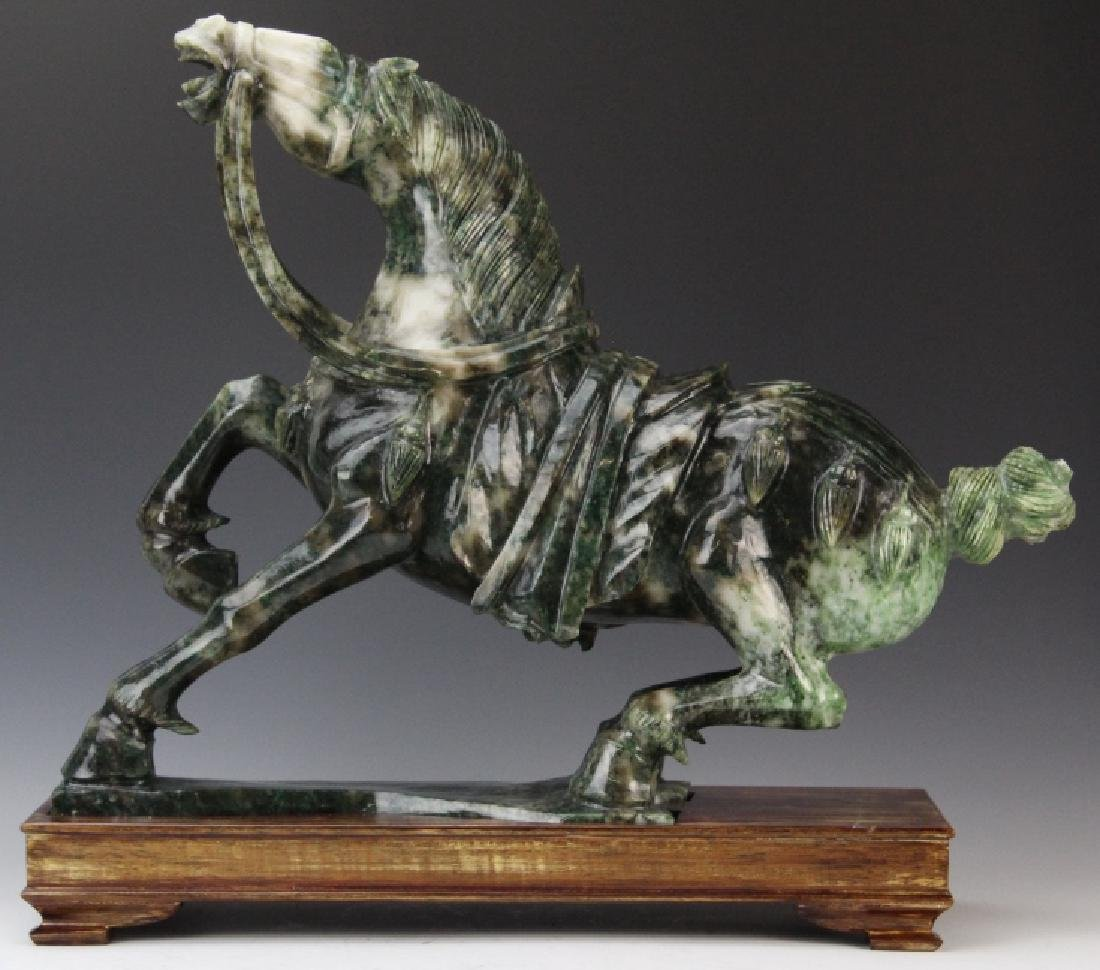 Large Chinese Carved Green JADE Rearing Horse Sculpture