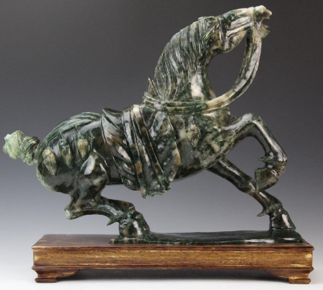 Large Chinese Carved Green JADE Rearing Horse Sculpture - 2