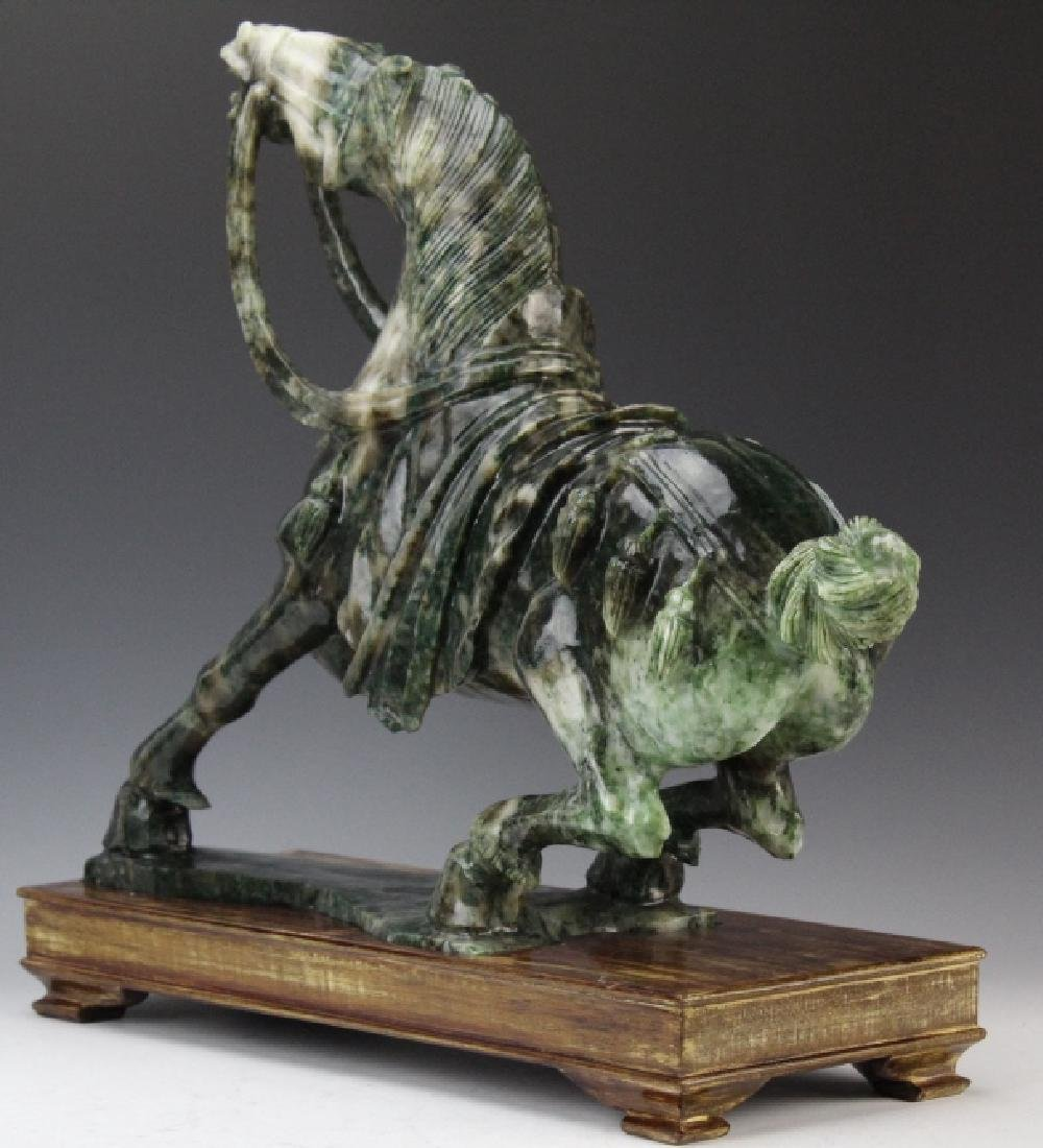 Large Chinese Carved Green JADE Rearing Horse Sculpture - 6