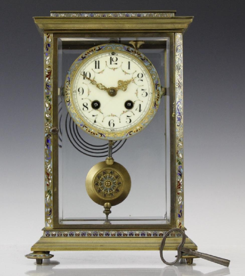 Samuel Marti Champleve Enamel Regulator Mantel Clock