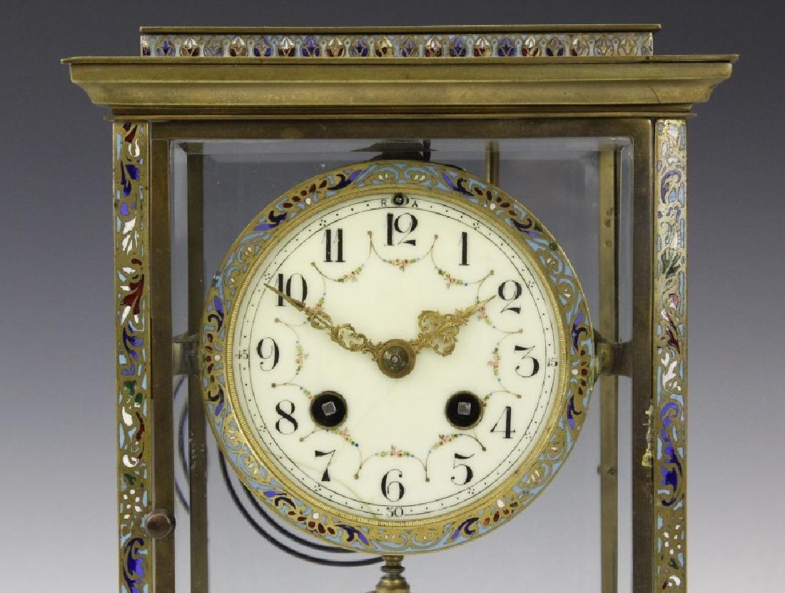 Samuel Marti Champleve Enamel Regulator Mantel Clock - 2