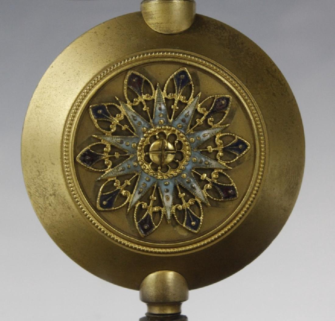 Samuel Marti Champleve Enamel Regulator Mantel Clock - 3