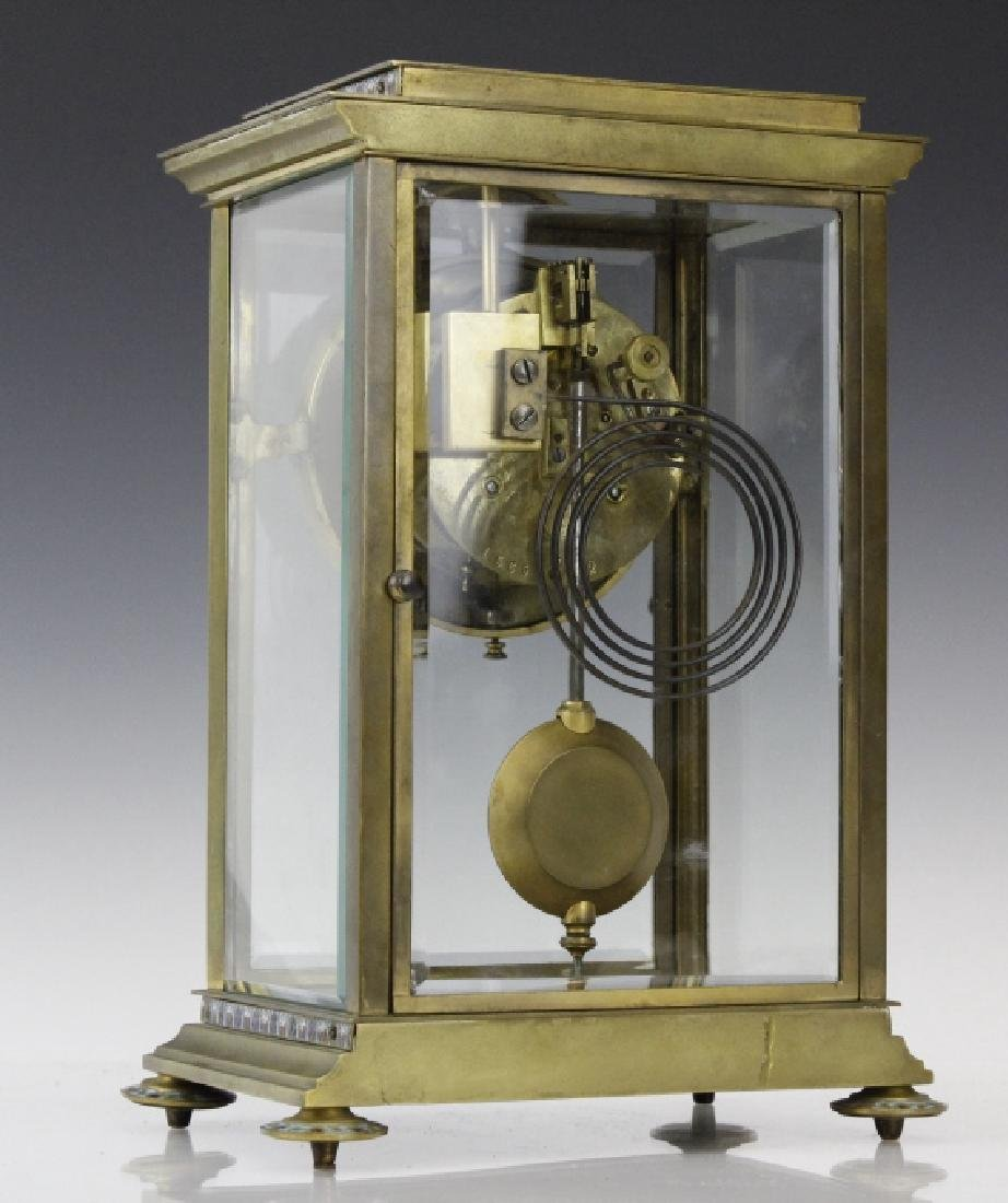 Samuel Marti Champleve Enamel Regulator Mantel Clock - 4