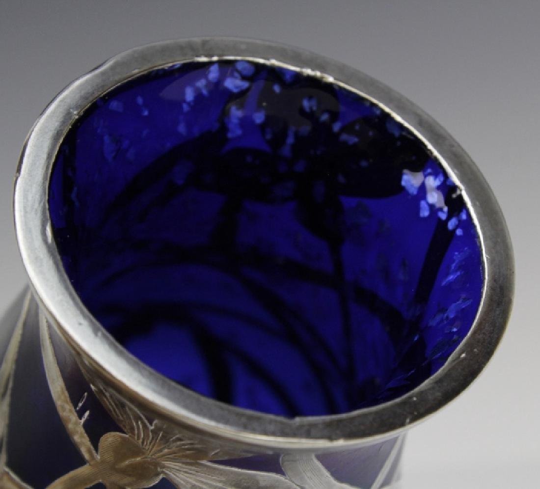 Loetz Type Blue Art Glass Sterling Silver Overlay Vase - 10