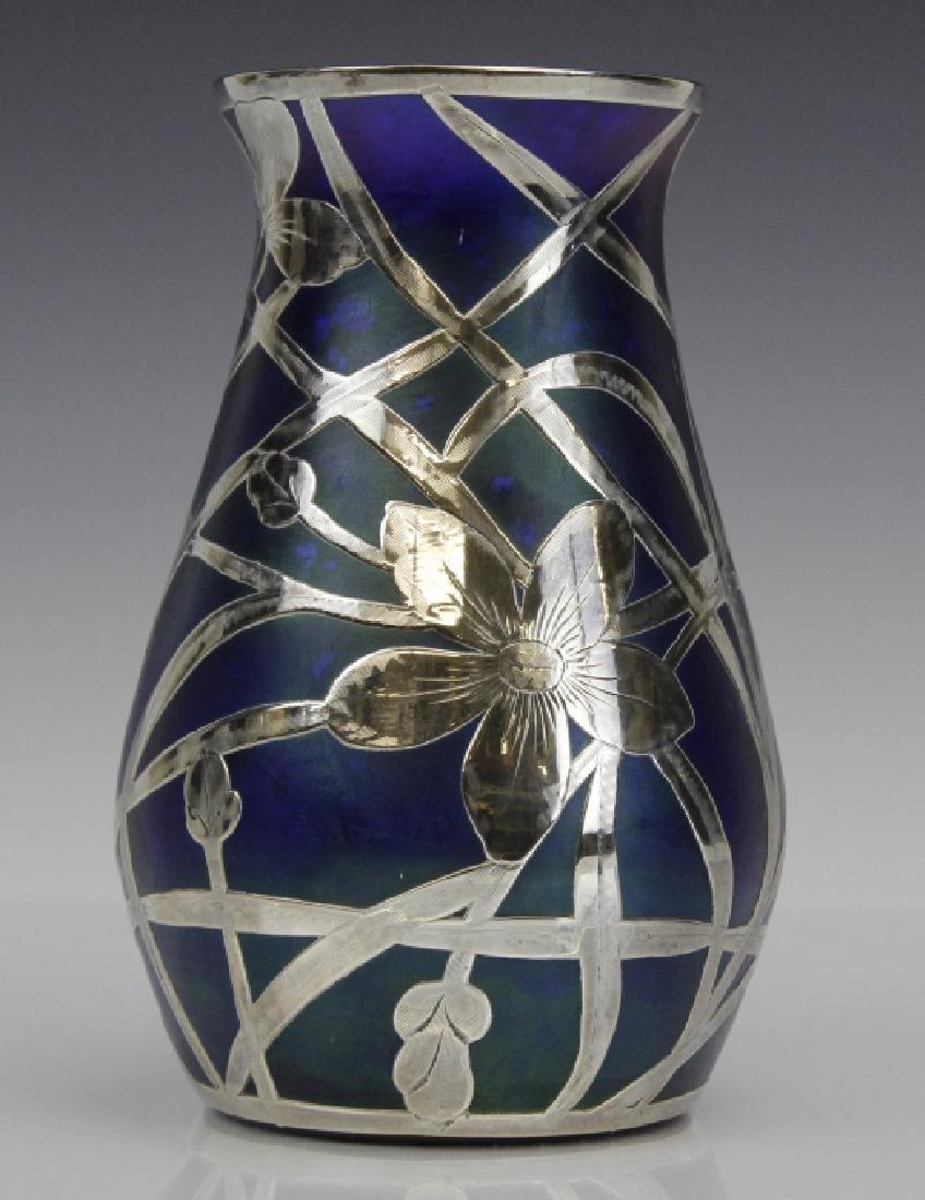 Loetz Type Blue Art Glass Sterling Silver Overlay Vase