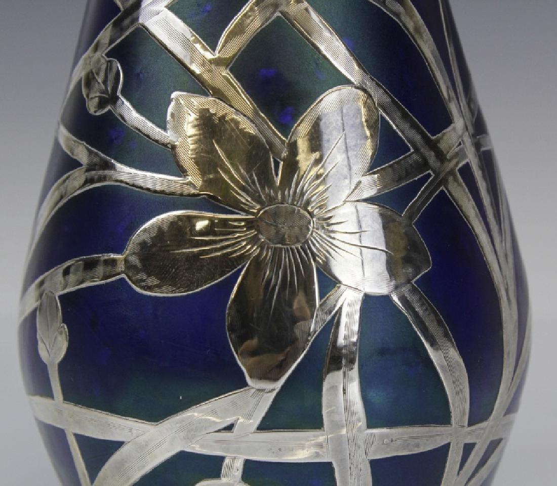Loetz Type Blue Art Glass Sterling Silver Overlay Vase - 2