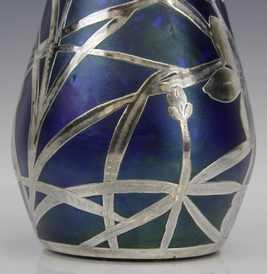 Loetz Type Blue Art Glass Sterling Silver Overlay Vase - 3