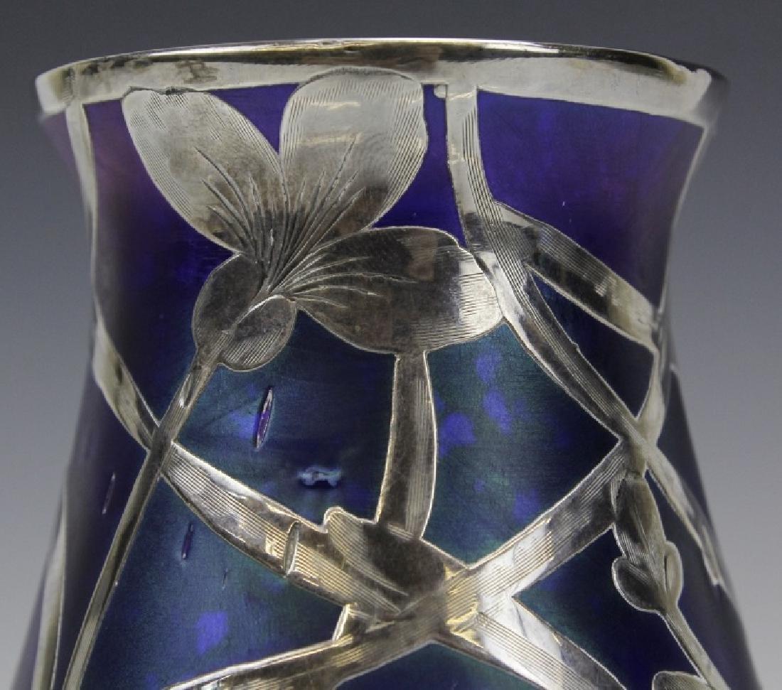 Loetz Type Blue Art Glass Sterling Silver Overlay Vase - 4