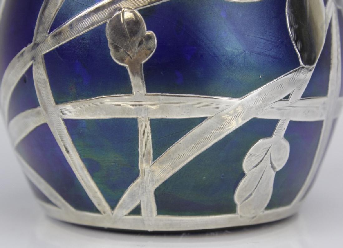 Loetz Type Blue Art Glass Sterling Silver Overlay Vase - 6