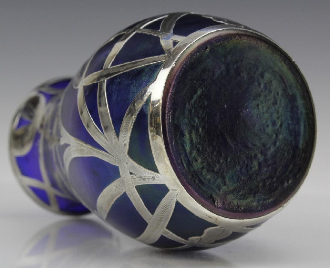 Loetz Type Blue Art Glass Sterling Silver Overlay Vase - 7