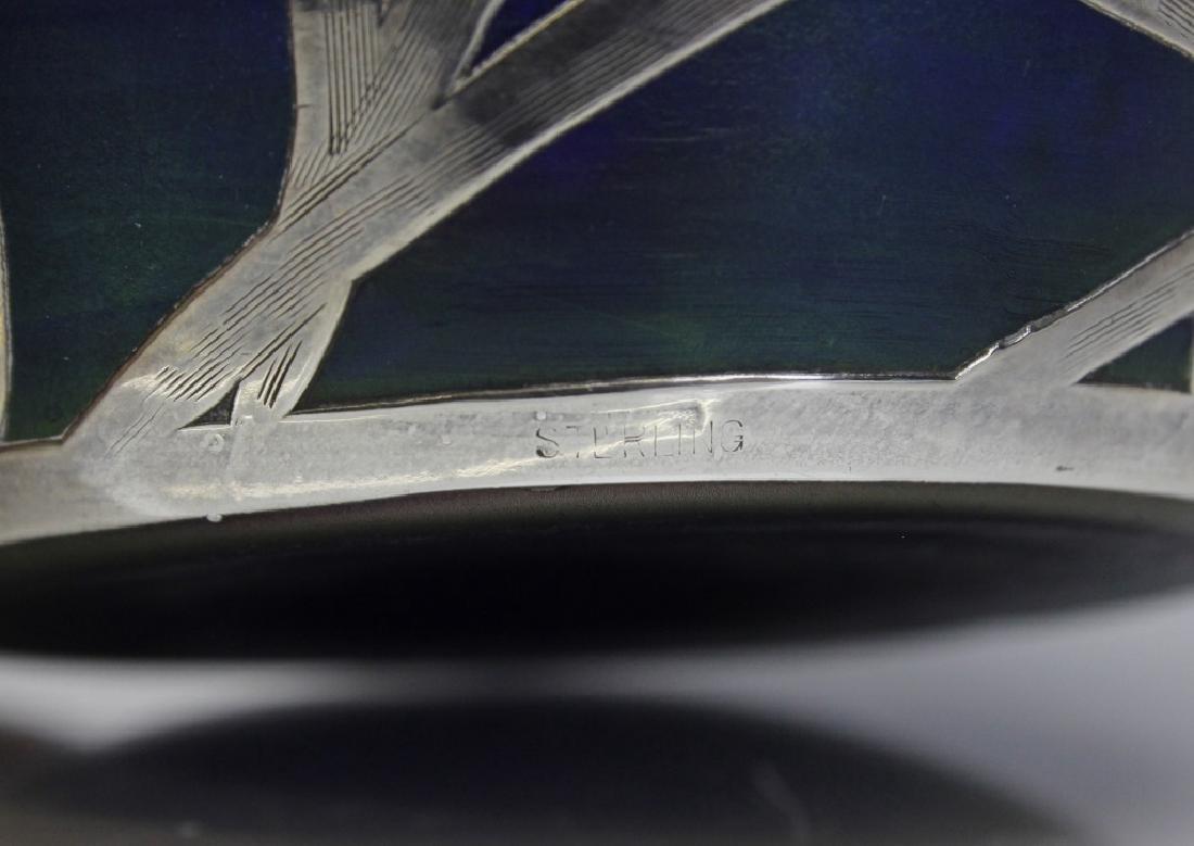Loetz Type Blue Art Glass Sterling Silver Overlay Vase - 8