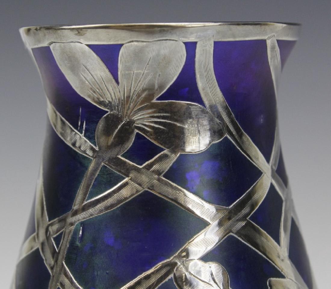 Loetz Type Blue Art Glass Sterling Silver Overlay Vase - 9