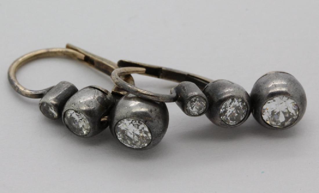 Victorian Silver & Gold 1 Ct TW Diamond Drop Earrings - 2