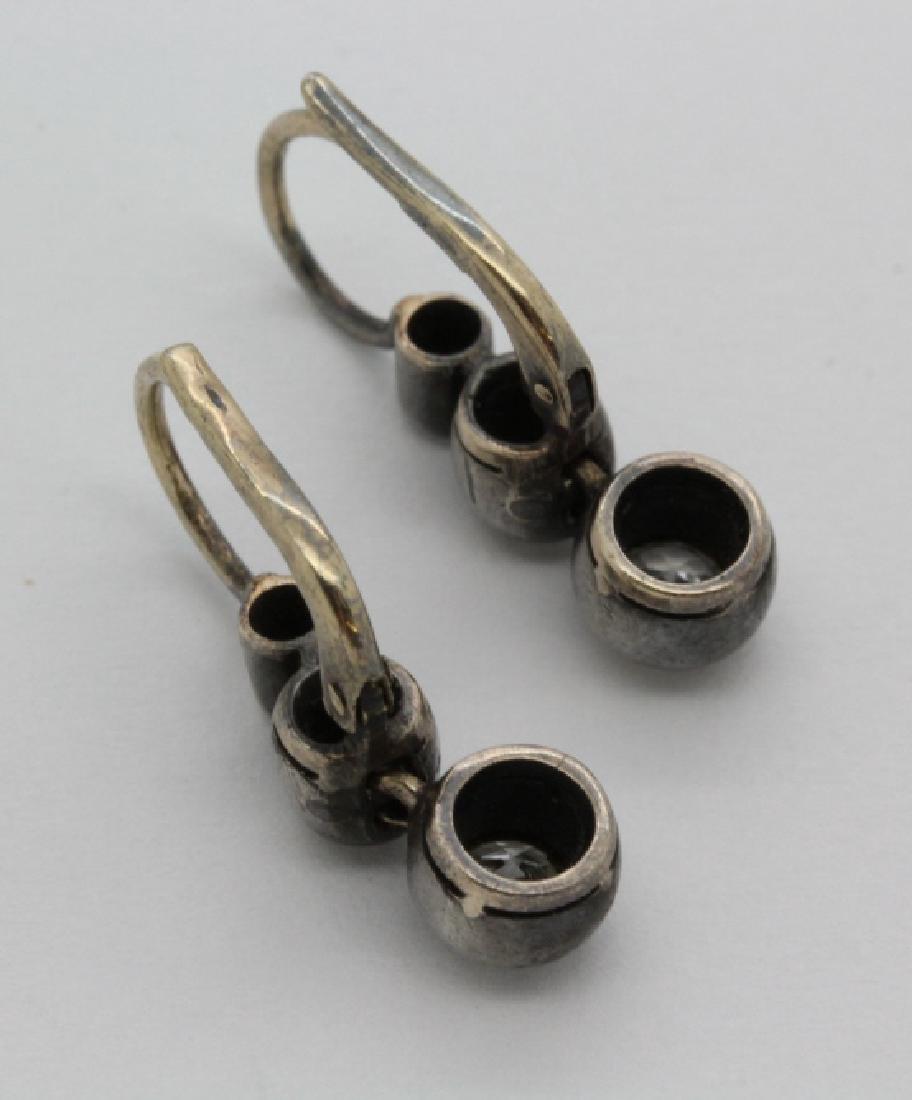 Victorian Silver & Gold 1 Ct TW Diamond Drop Earrings - 6