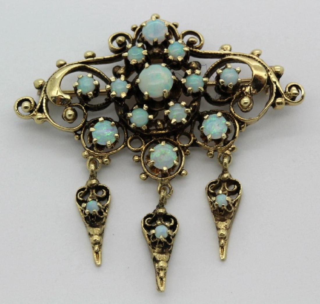 Antique 14k Gold Fire Opal Filigree Drop Pendant Brooch