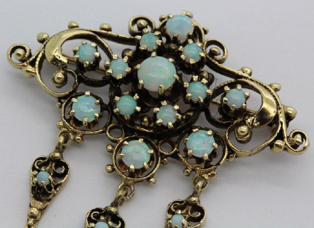 Antique 14k Gold Fire Opal Filigree Drop Pendant Brooch - 2