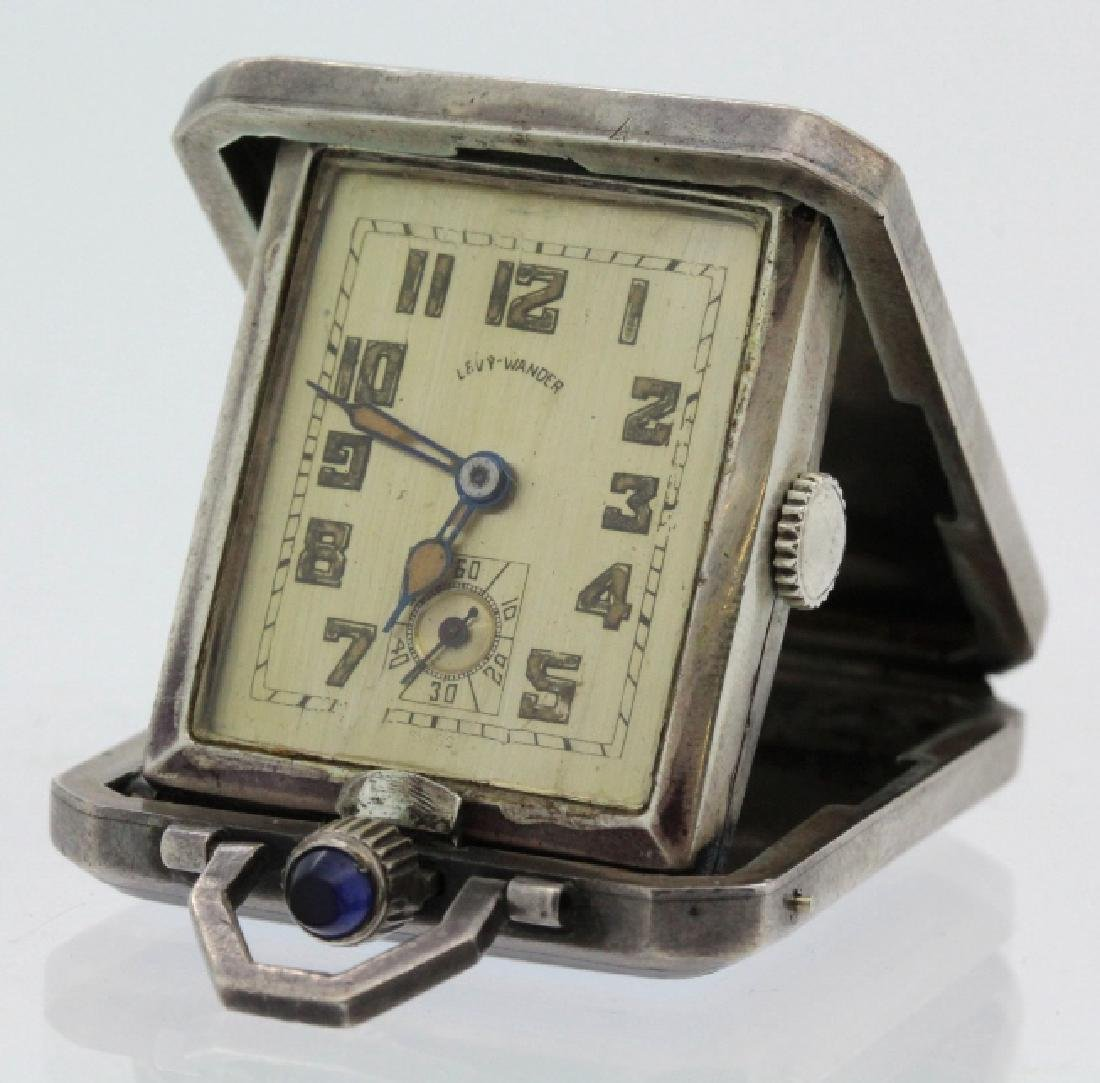 Art Deco Levy Wander Silver Enamel Travel Watch Clock