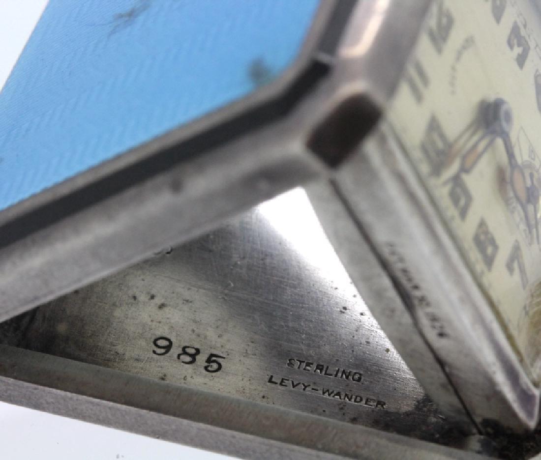 Art Deco Levy Wander Silver Enamel Travel Watch Clock - 7