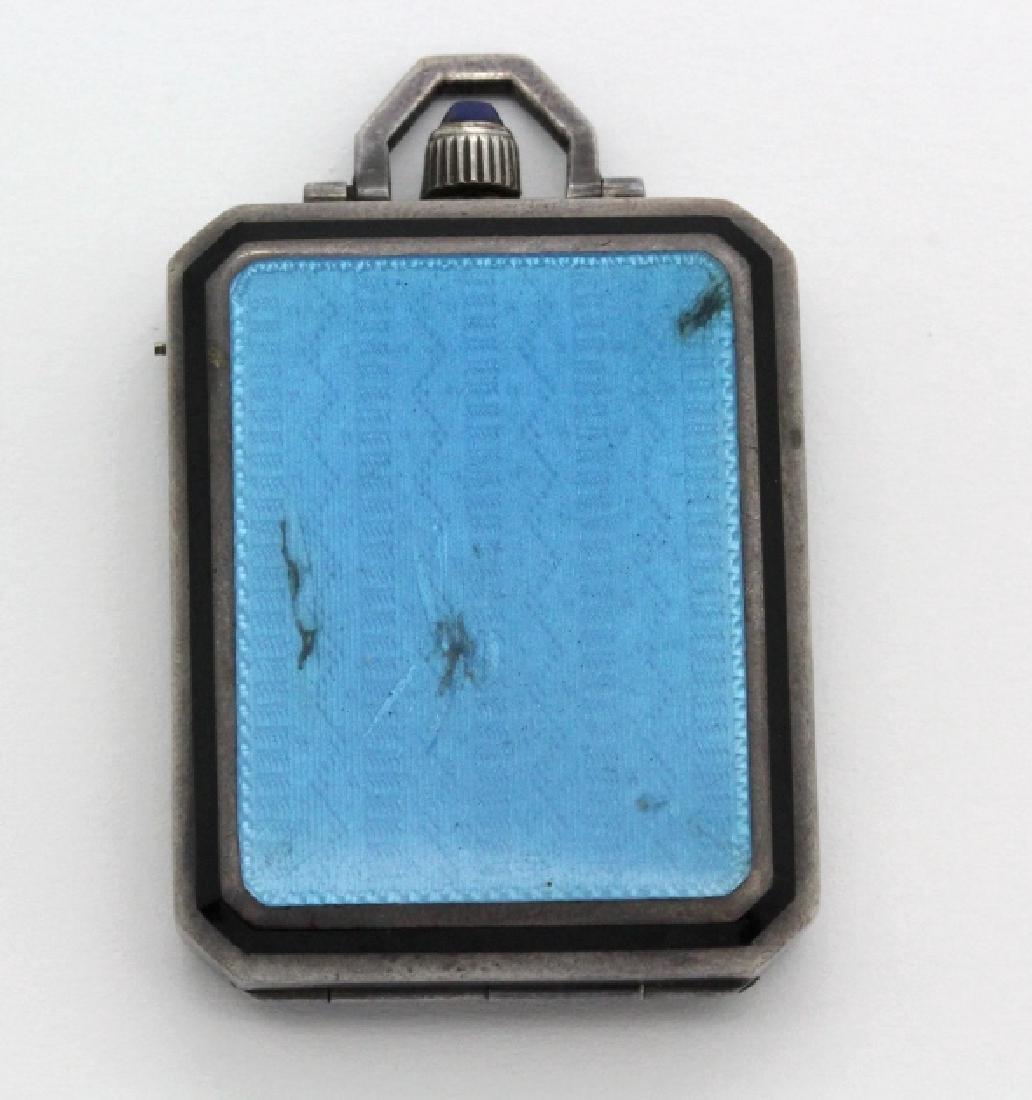Art Deco Levy Wander Silver Enamel Travel Watch Clock - 9