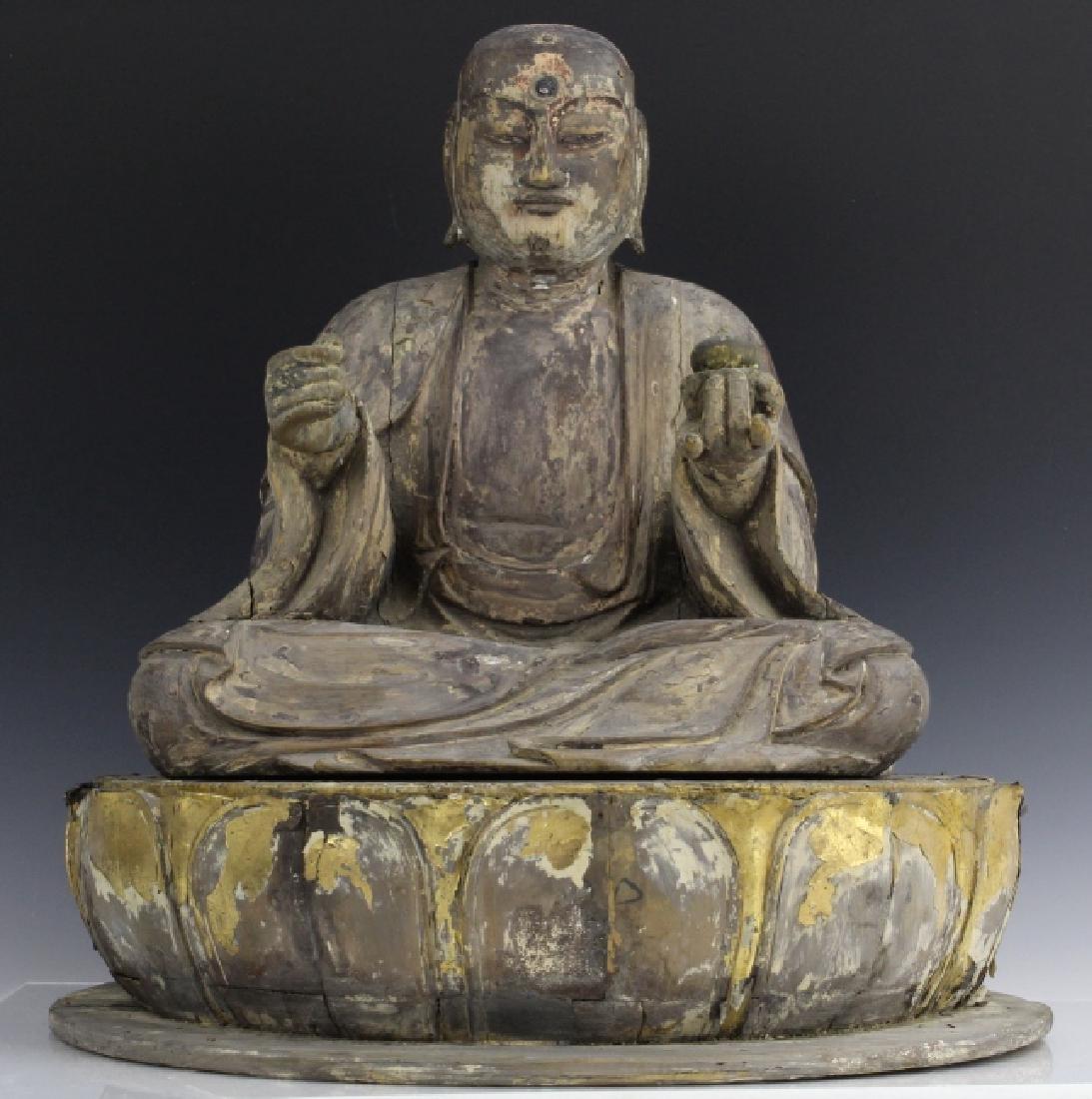 Muromachi Period c. 1600 AD Japanese Wood Buddha Statue