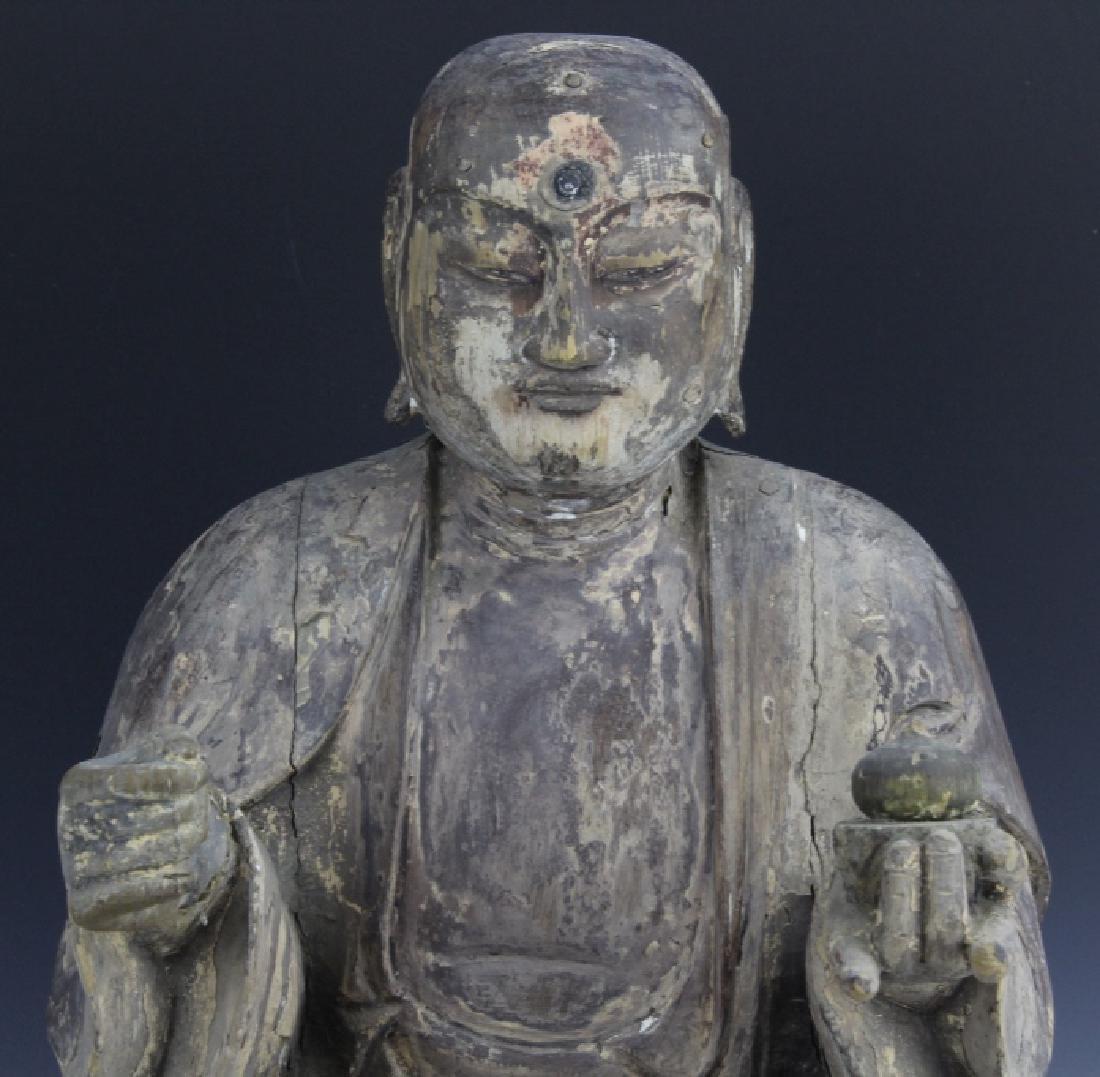 Muromachi Period c. 1600 AD Japanese Wood Buddha Statue - 2