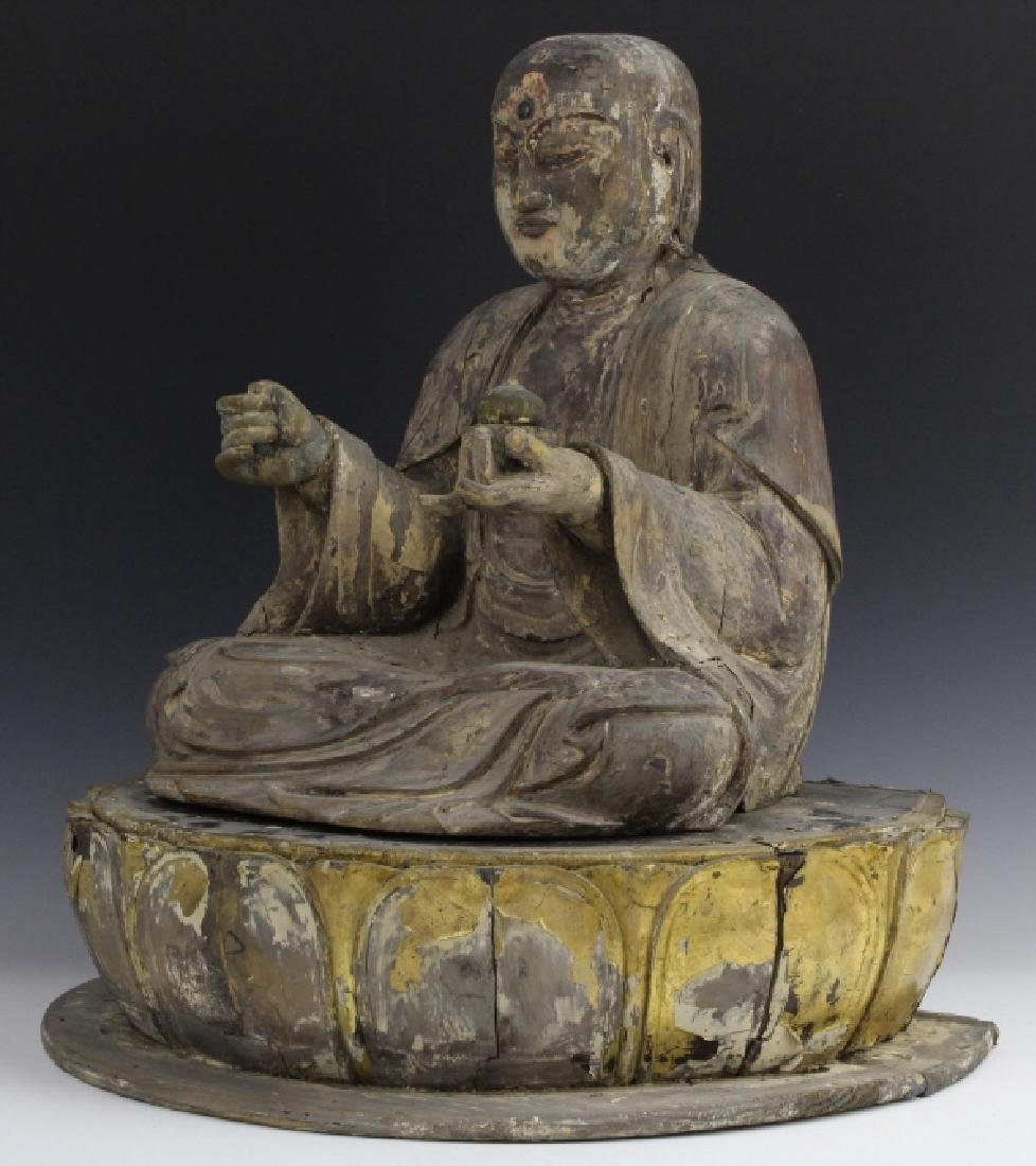 Muromachi Period c. 1600 AD Japanese Wood Buddha Statue - 5