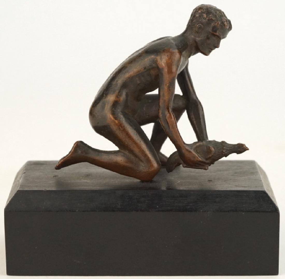 Antique Nude Male with Bird Figural Bronze Sculpture