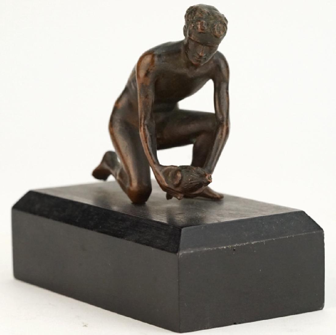 Antique Nude Male with Bird Figural Bronze Sculpture - 2