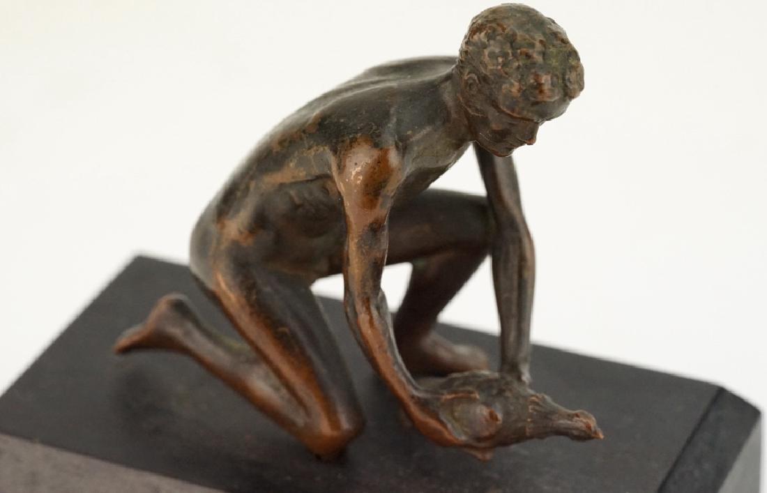 Antique Nude Male with Bird Figural Bronze Sculpture - 5