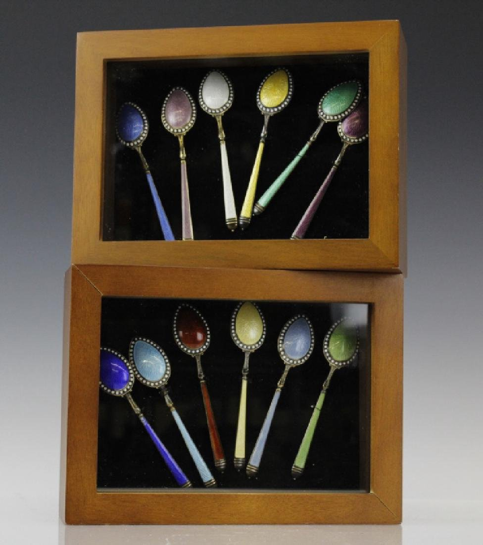 12 Watson Sterling Silver 925 Enamel Spoon Set FRAMED