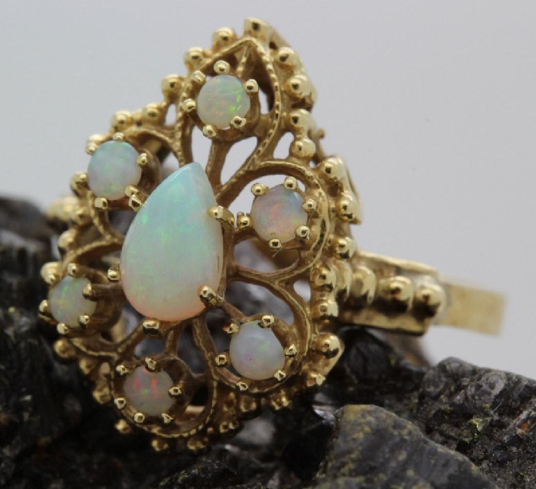 Victorian Style Pierced Filigree 14k Opal Ring Size 7